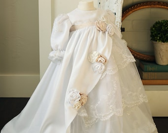 Silk ruffled baptism gown - white and ivory - lace christening dress - blessing dress - baby dress 0-18 mo. - The Zaidee Dress