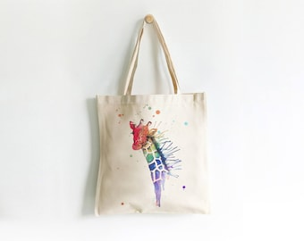 Rainbow Giraffe Printed Tote Bage, Watercolour and ink art print on a re-usable bag