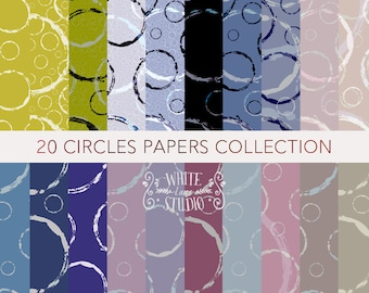Circles Pattern Digital Papers Collection in range of colours. Original Hand Printed. WLS