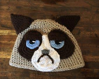 Crochet Hat, Grumpy Cat Inspired, Cat Hat Crochet