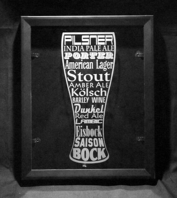 Beer cap shadow box etched glass art man cave wall art pilsner for Craft beer typography beer cap shadow box beer cap collector