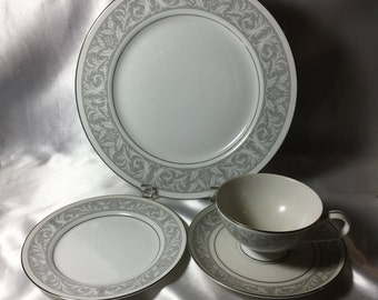 Imperial Dinnerware; 4-piece Place Setting imperial dinnerware white gray silver dinnerware & Imperial china | Etsy