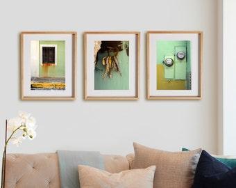 Sage Green 3V Print Collection.  Detail photography, urban decor, wall art, artwork, large format photo.