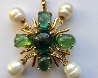 Green Tourmaline and Pearl Brooch