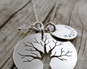 Family Tree Jewelry - Custom Hand Cut Oak Tree w/ Children's Names and Birthstones in Sterling Silver by EWDJewelry