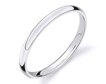 14k White Gold Band (2mm THIN) | PLAIN | Polished Rounded Dome + Comfort Fit | Men's Women's Wedding Ring Simple Thin