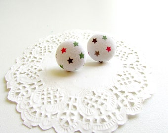 Tiny Star Earrings, Star Earring Studs, Fabric Button Studs, Everyday Jewelry, Small Star Posts, Dainty Star Earrings, Cute Tiny Earrings
