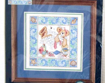 Bath Time Bear Stamped Cross Stitch Complete Kit by Dimensions Sunset
