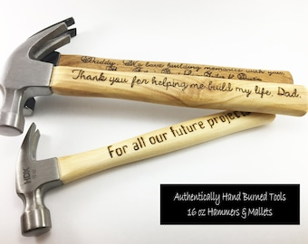 Fathers Day Custom 16 oz Claw Hammer, Personalized Gift for Dad 2018, Wood Gift for Men 5 Year Anniversary, Gift for Him from Wife
