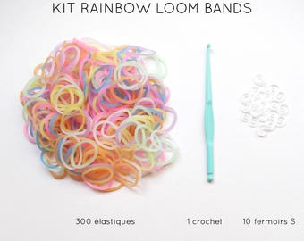 Kit 300 pastel elastic + 10 clasps S + 1 crochet rainbow loom bands