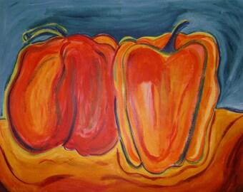 Due Peperoni Arancioni-Acrylic Painting on paper, Original art, contemporary art, Ann Forget, 299.00