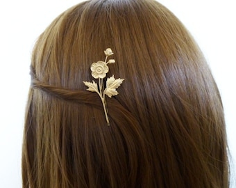 Bridal Bobby Pin Gold Wedding Hair Clip Bridesmaid Botanical Garden Rustic Woodland Wedding Accessories Wife Girlfriend Womens Gift For Her