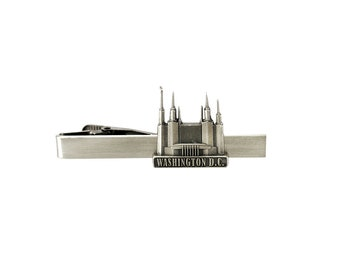Washington DC Temple Tie Bar Silver or Gold Finish