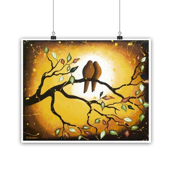 Valentine\'s Day Gift Love Birds Art Bird Wall Art Print