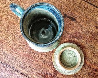 Handmade Pottery Mug, Sage Green and Blue Mug with Lid, hebal tea steeping mug