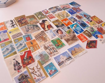 50 Japanese Postage Stamps – Colorful and Cute stamps. Nippon