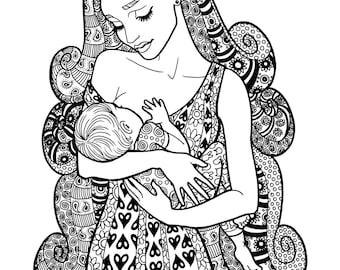 PROVIDENCE - Coloring Page Motherhood Series Zentangle Method Line Art Decorative Doodle Illustration Breastfeeding Nursing Mother New Baby