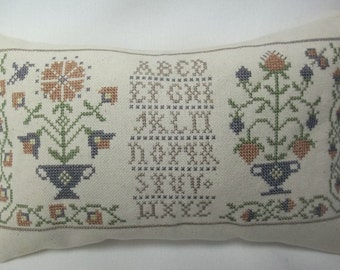 Sampler Colonial Flowers Cross Stitch Mini Pillow Primitive Shelf Pillow MAKE TO ORDER