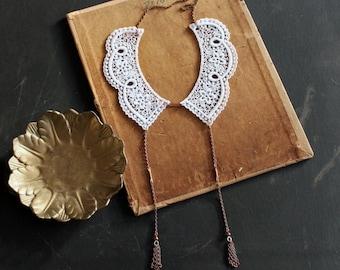 peter pan collar // DELPHINE // white / lace collar / detachable collar / tassel necklace