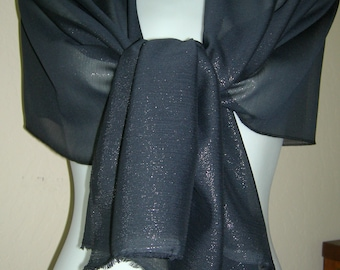 Black shimmery chiffon scarf/ shawl/ wrap, great to enhance any outfit.