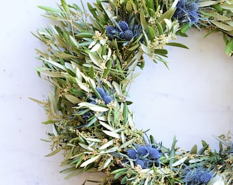 Blue Thistle and Olive Wreath | Spring Wreath | Wreath for Front Door | Front Door Wreath | Handcrafted Wreaths | Gifts for Mother's Day