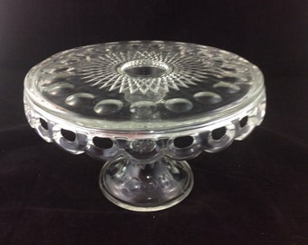 Antique Glassware: EAPG Cake Stand / Diamond Thumbprint Hobstar...Victorian Crystal Cake Plate American Pressed Glass Wedding Birthday Party