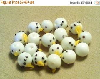 BIG CLEARANCE Snowman beads;  little lampwork glass, snowman head beads, 10mm, 5-10pcs/2.40-4.80.