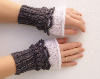 Fingerless mittens Crochet, knit, Arm Wrist Warmers, Gray, Grey  White.