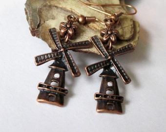 Copper Dangle Earrings, Windmill Earrings, Beaded Charm Earrings, Metal Earrings, Gift For Her