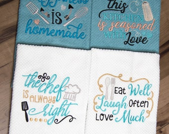 Embroidered Kitchen Towels, Dish Towels, Embroidered Dish Towels, Embroidered Towels, KT116