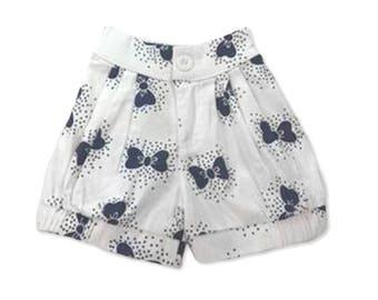 Girls Shorts, Bows, Bloomer Shorts, Navy Bows