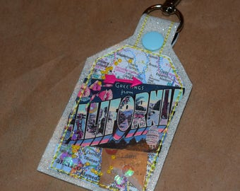 California Golden State of Mind One of a Kind  Mixed Media Tag Keychain