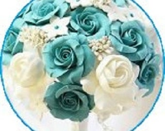 Blue rose snap charm, bridal bouquet snap button works with regular sized Gingersnaps jewelry and other 18-20 mm snap jewelry.