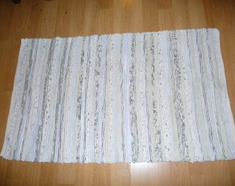 "Loom Woven Rag Rug 31 x 55"" Rectangular  Handmade Handwoven  Cotton  Rug Natural Gray Tan Brown White Ready to Ship"