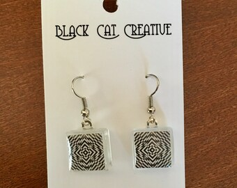 Geometric Black and White Glass Tile Earrings