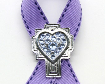 General Cancer Awareness Pin, Cross, Crystals, Handmade, Gift for Anyone, Angels, Jewelry