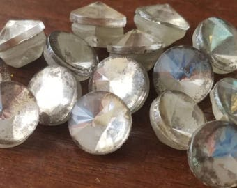 Vintage Buttons - lot of mirror glass matching novelty small size lot of 14 (Feb 105 18)