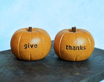Thanksgiving decor ... yellow orange give thanks pumpkins ...nice present....cute handmade clay gift