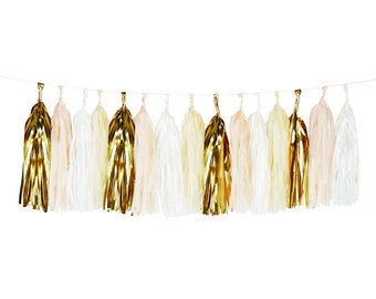 Tissue Paper Tassel Garland Fringe in Powder and Gold foil colors -Party birthday wedding room decor