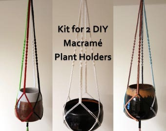 DIY Macrame Kit for Two Plant Pot Holders, Colourful Macrame Plant Hangers, Make 2 Macrame Holders with Easy Instructions Using Strong Cord