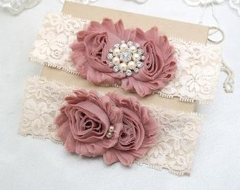 Wedding Garter Set, Vintage Tone Cream Lace Bridal Keepsake Garter, Dusty Rose Pink Shabby Flower, Rhinestone Pearl, Silver Gold  BtnChc
