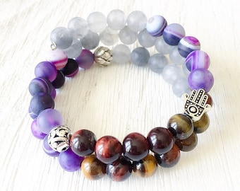 Mulit-Stone Wrap Mala with Spiritual Charms, Quartz, Agate, Tiger Eye, Hamsa