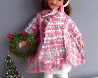 "Vintage PINK Tweed DOLL COAT and hat for all 8""-9""/20-23cm dolls like Bjds, Middle Blythe, Dankin Ginny, Patch, Pepper"