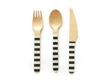 Black and White Striped Wooden Cutlery -Set of 24 White and Black Wooden Forks, Spoons or Knives- The perfect touch for any party!