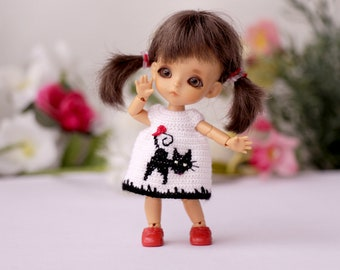 Lati white crochet dress with black cat embroidery Tiny BJD dolls clothes 3,5-inch doll Small doll dress Original dolls clothes