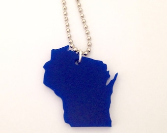 Blue Wisconsin Necklace - Lasercut Acrylic State Jewelry