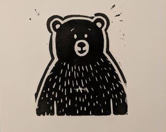 Bear Lino print