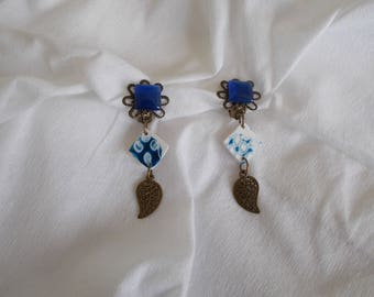 Blue and bronze clip earrings