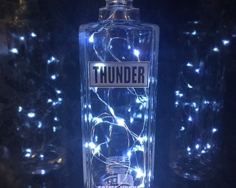 Bottle Lamp, Thunder toffee vodka upcycled clear glass bottle lamp with bright white LED lights