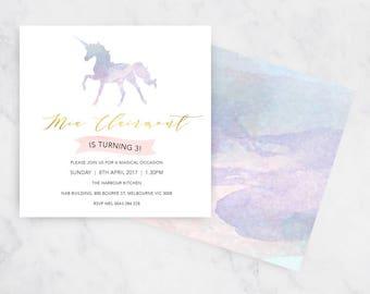 Unicorn Whisper Birthday Invitation | Printable Invitations